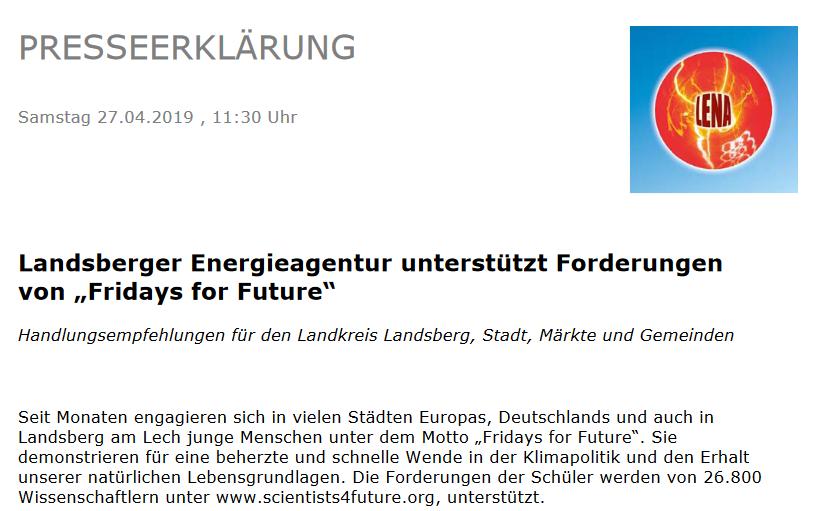 """Unterstützung für """"fridays for future"""""""
