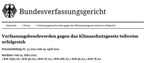 Urteil des BVerfG zum Klimaschutz
